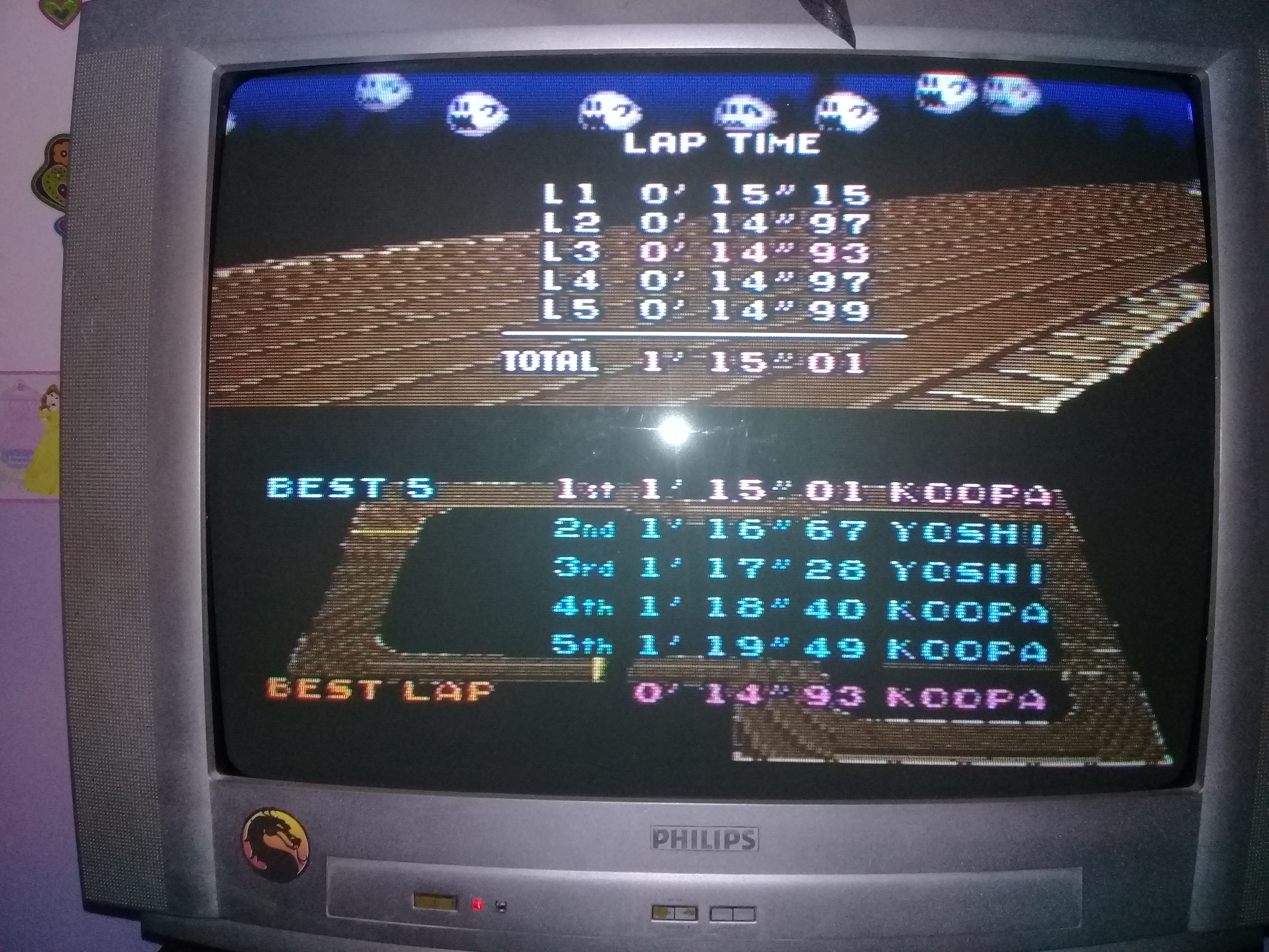 omargeddon: Super Mario Kart: Ghost Valley 1 [Time Trial] [Lap Time] (SNES/Super Famicom) 0:00:14.93 points on 2020-05-06 19:36:50