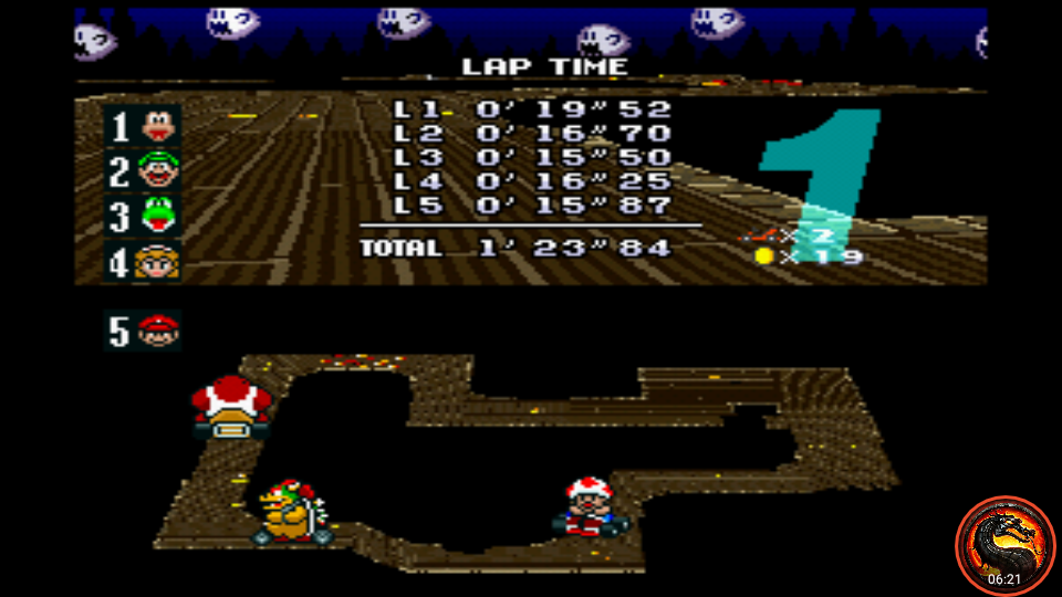 omargeddon: Super Mario Kart: Ghost Valley 2 [100cc] (SNES/Super Famicom Emulated) 0:01:23.84 points on 2020-02-23 15:11:42