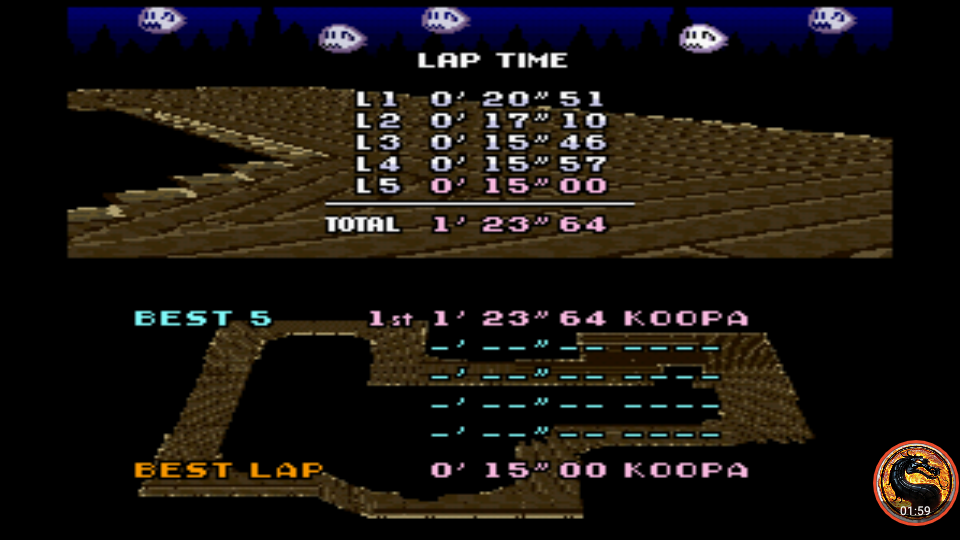 omargeddon: Super Mario Kart: Ghost Valley 2 [Time Trial] (SNES/Super Famicom Emulated) 0:01:23.64 points on 2019-12-29 16:06:38