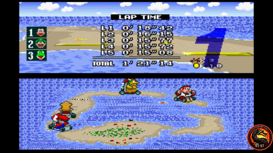 omargeddon: Super Mario Kart: Koopa Beach 1 [50cc] [Lap Time] (SNES/Super Famicom Emulated) 0:00:15.08 points on 2020-02-06 23:49:27