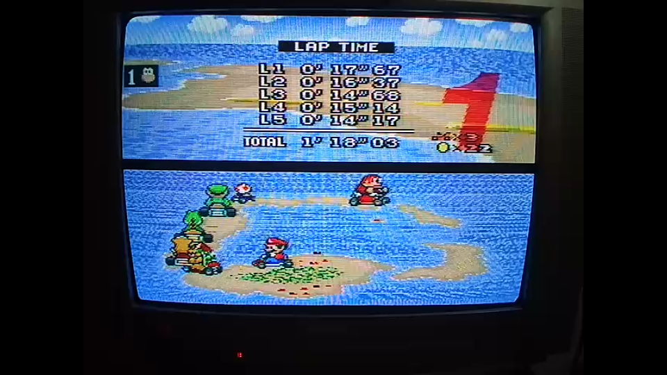 omargeddon: Super Mario Kart: Koopa Beach 1 [50cc] [Lap Time] (SNES/Super Famicom) 0:00:14.17 points on 2020-04-27 01:00:19