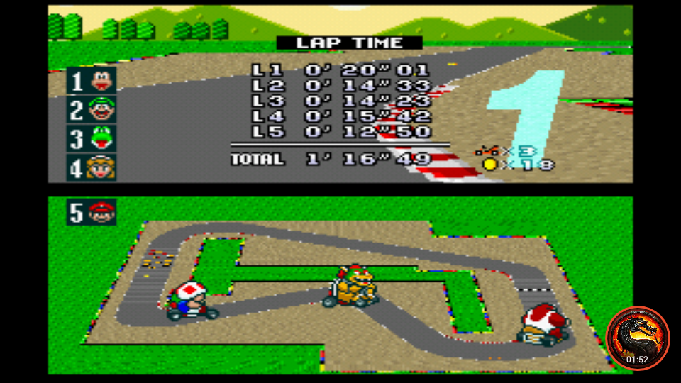 omargeddon: Super Mario Kart: Mario Circuit 1 [100cc] (SNES/Super Famicom Emulated) 0:01:16.49 points on 2020-02-12 20:59:06