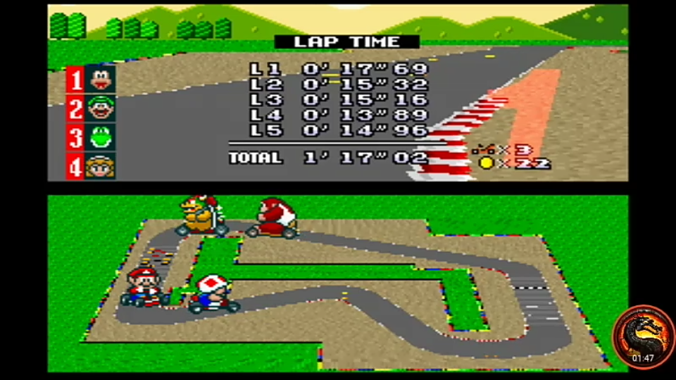omargeddon: Super Mario Kart: Mario Circuit 1 [50cc] [Lap Time] (SNES/Super Famicom Emulated) 0:00:13.89 points on 2020-02-09 10:14:51