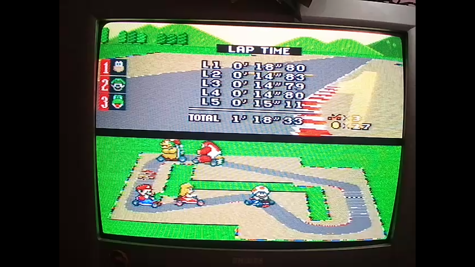 omargeddon: Super Mario Kart: Mario Circuit 1 [50cc] [Lap Time] (SNES/Super Famicom) 0:00:14.79 points on 2020-04-26 23:53:44