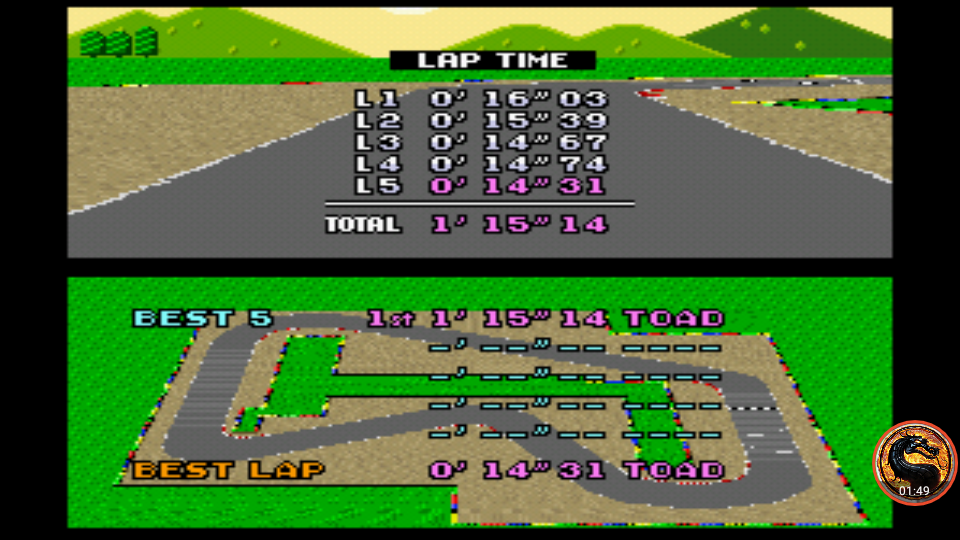 omargeddon: Super Mario Kart: Mario Circuit 1 [Time Trial] [Lap Time] (SNES/Super Famicom Emulated) 0:00:14.31 points on 2019-12-29 13:24:03