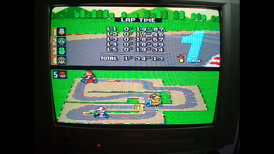 omargeddon: Super Mario Kart: Mario Circuit 2 [100cc] [Lap Time] (SNES/Super Famicom) 0:00:17.46 points on 2020-04-27 11:02:55