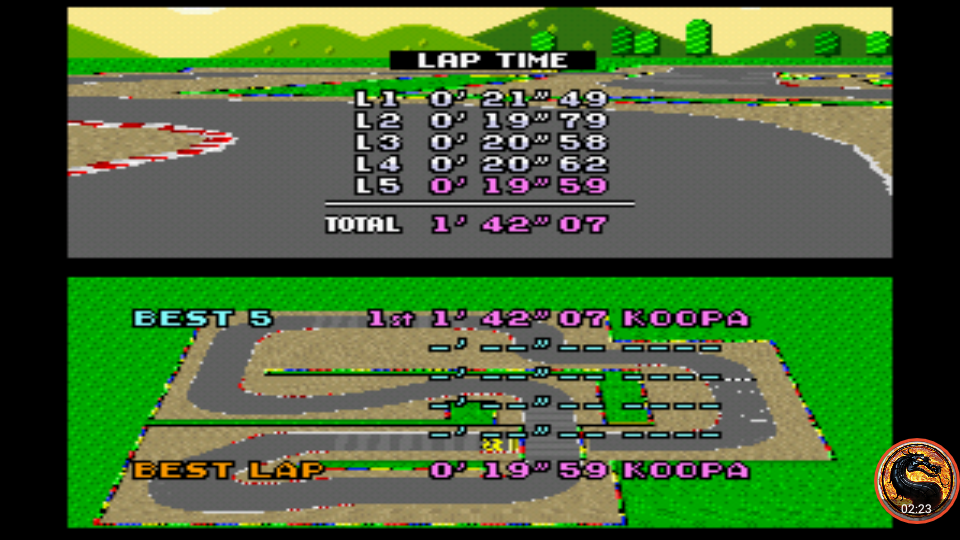 omargeddon: Super Mario Kart: Mario Circuit 2 [Time Trial] [Lap Time] (SNES/Super Famicom Emulated) 0:00:19.59 points on 2019-12-29 16:19:48