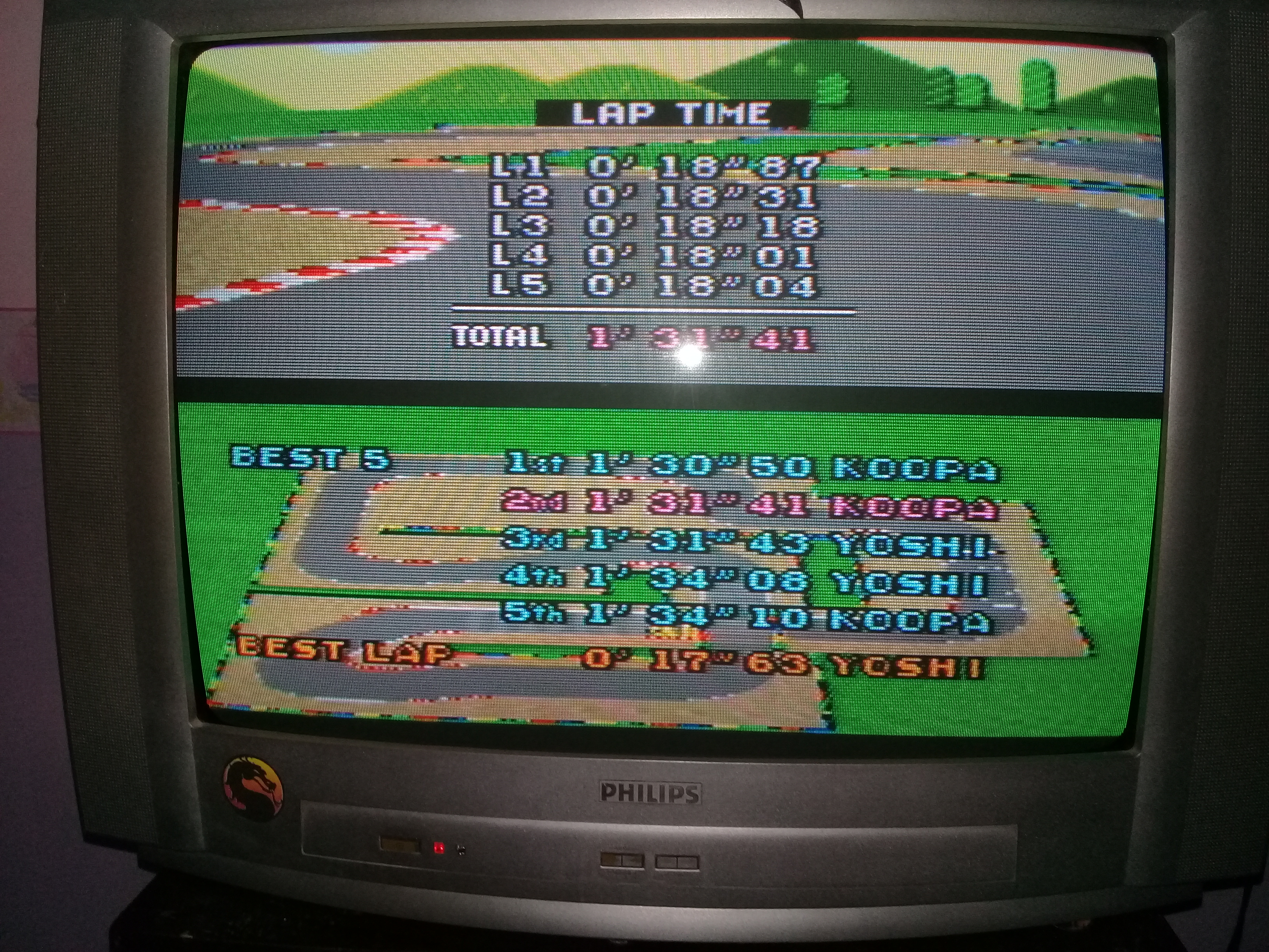 omargeddon: Super Mario Kart: Mario Circuit 2 [Time Trial] [Lap Time] (SNES/Super Famicom) 0:00:18.01 points on 2020-05-06 19:55:51