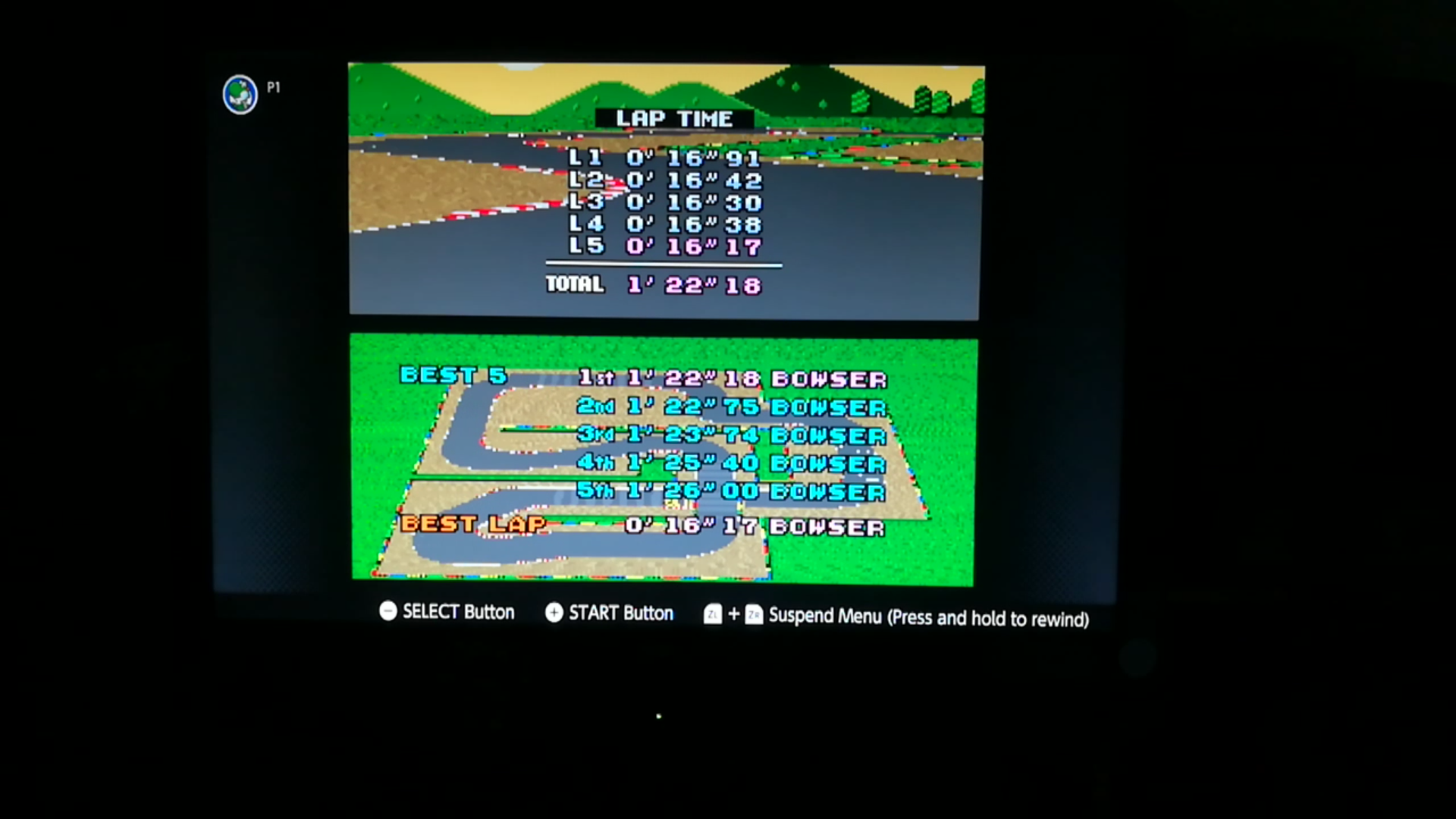 Super Mario Kart: Mario Circuit 2 [Time Trial] time of 0:01:22.18