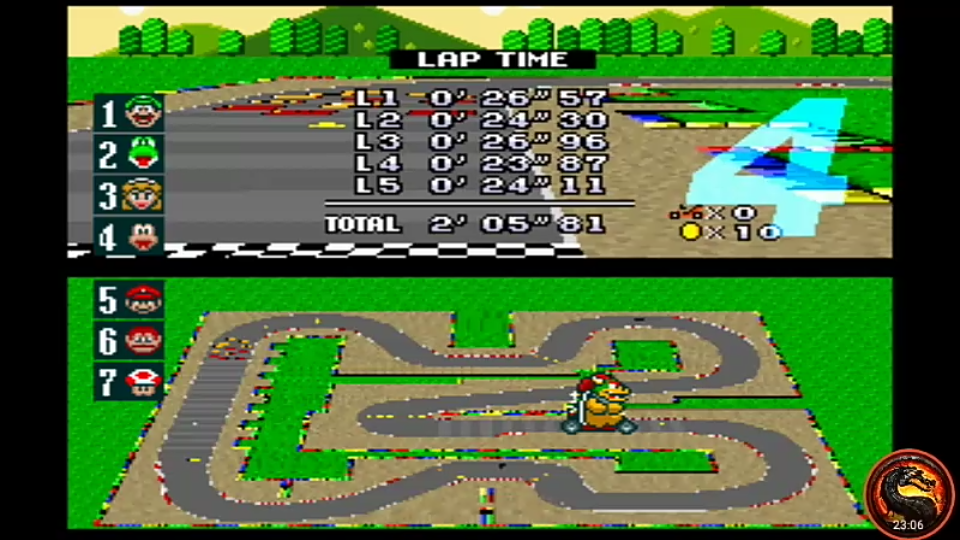 omargeddon: Super Mario Kart: Mario Circuit 3 [100cc] [Lap Time] (SNES/Super Famicom Emulated) 0:00:23.87 points on 2020-02-23 15:19:52