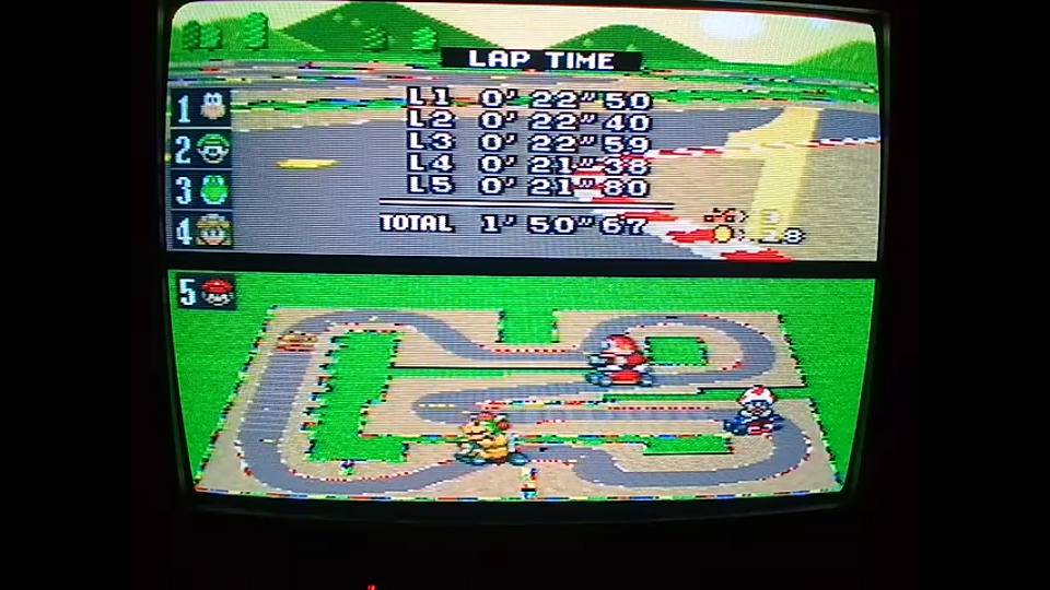 omargeddon: Super Mario Kart: Mario Circuit 3 [100cc] [Lap Time] (SNES/Super Famicom) 0:00:21.38 points on 2020-04-27 12:59:28