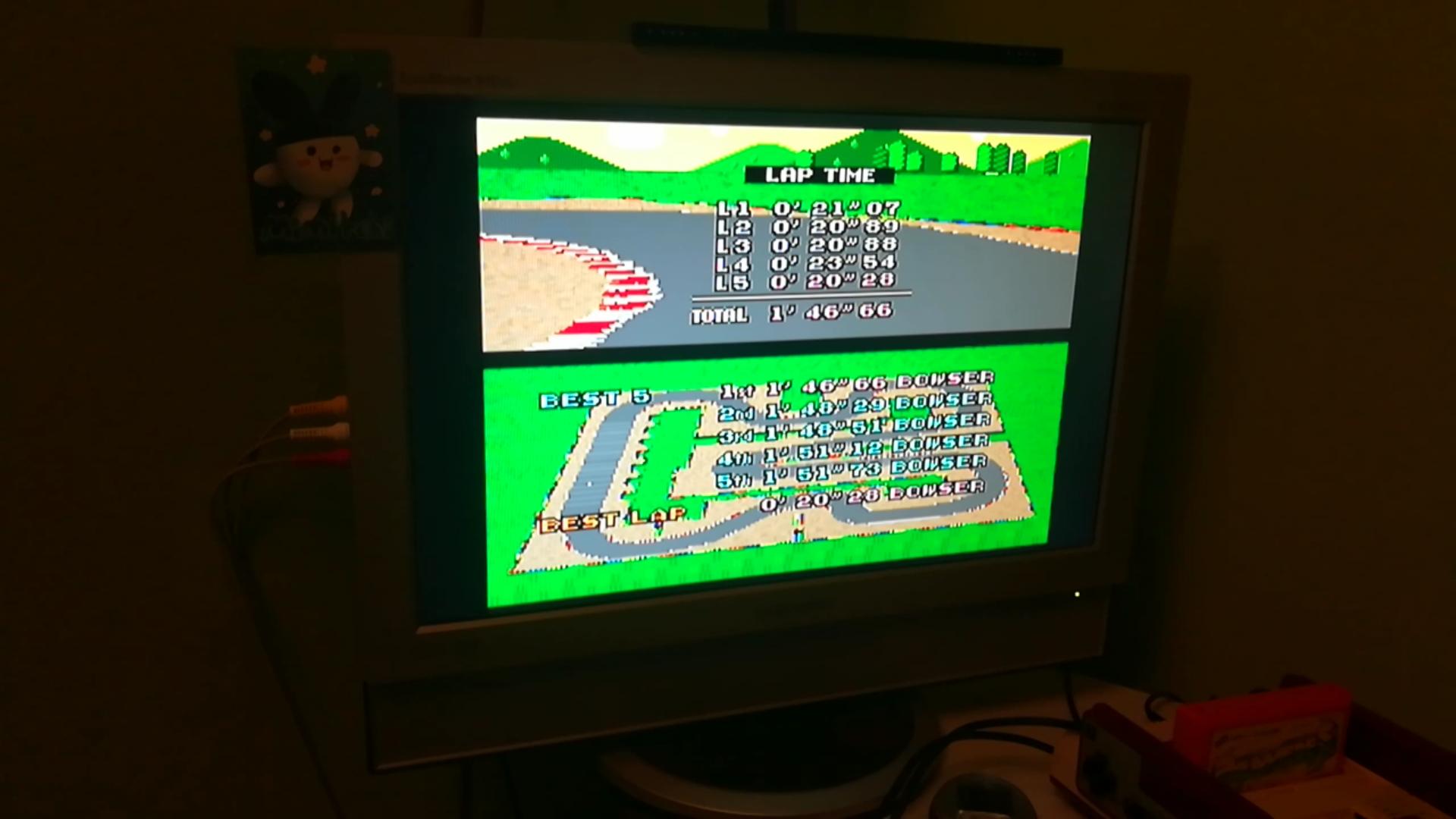 Mimitchi: Super Mario Kart: Mario Circuit 3 [Time Trial] (SNES/Super Famicom Emulated) 0:01:46.66 points on 2020-03-09 21:32:53
