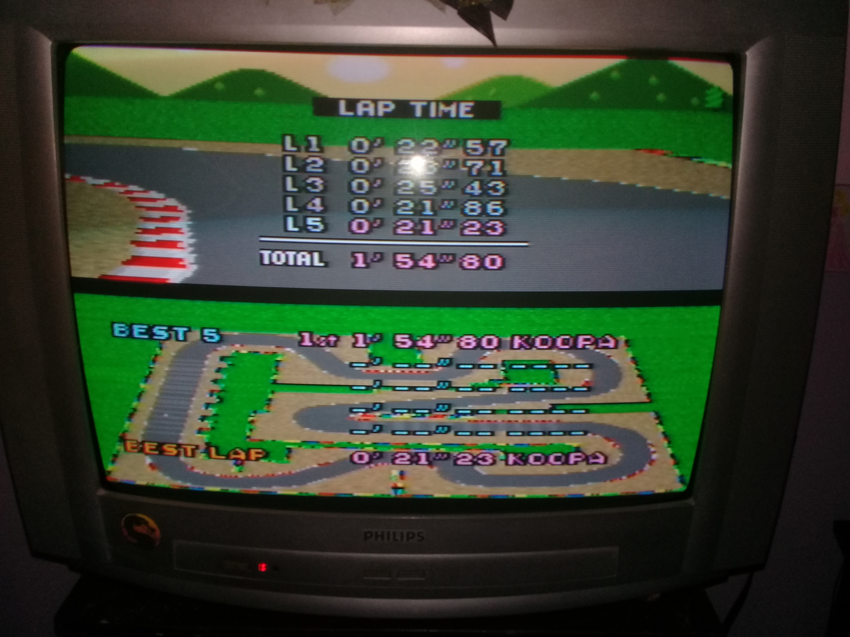 omargeddon: Super Mario Kart: Mario Circuit 3 [Time Trial] (SNES/Super Famicom) 0:01:54.8 points on 2020-05-06 20:27:14
