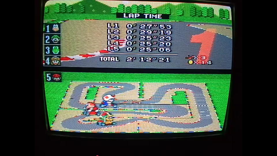 omargeddon: Super Mario Kart: Mario Circuit 4 [100cc] [Lap Time] (SNES/Super Famicom) 0:00:25.06 points on 2020-04-27 14:19:47