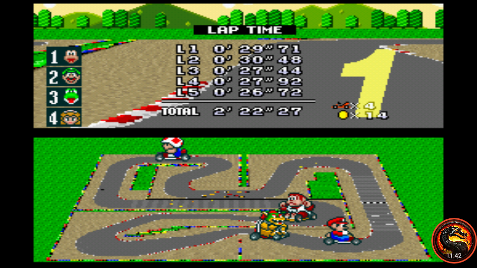 omargeddon: Super Mario Kart: Mario Circuit 4 [50cc] [Lap Time] (SNES/Super Famicom Emulated) 0:00:26.72 points on 2020-02-07 00:19:01