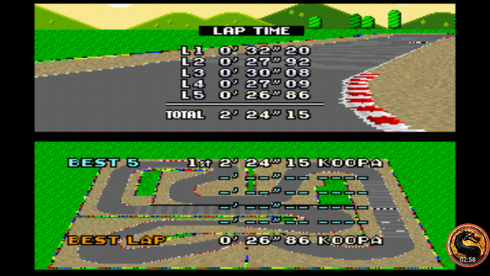 omargeddon: Super Mario Kart: Mario Circuit 4 [Time Trial] (SNES/Super Famicom Emulated) 0:02:24.15 points on 2019-12-29 15:25:42