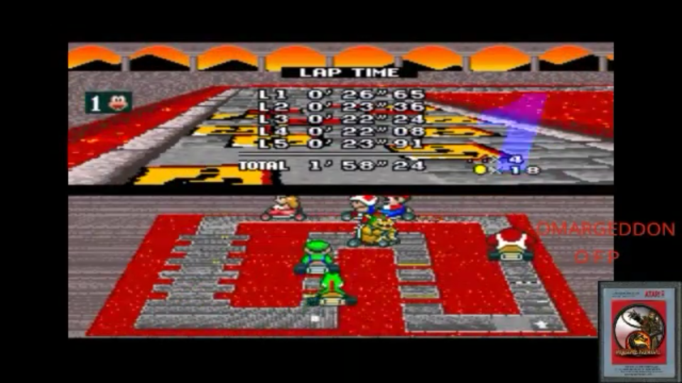 Super Mario Kart [Mushroom Cup: Bowser Castle 1: 50CC] time of 0:01:58.24