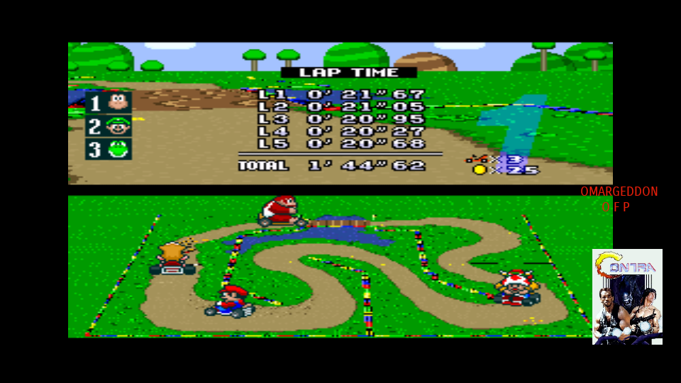 omargeddon: Super Mario Kart [Mushroom Cup: Donut Plains 1: 50CC] (SNES/Super Famicom Emulated) 0:01:44.62 points on 2017-09-12 19:41:01
