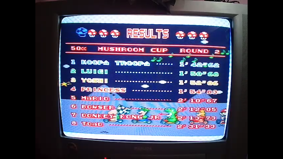 omargeddon: Super Mario Kart [Mushroom Cup: Donut Plains 1: 50CC] (SNES/Super Famicom) 0:01:42.62 points on 2020-04-27 00:02:32