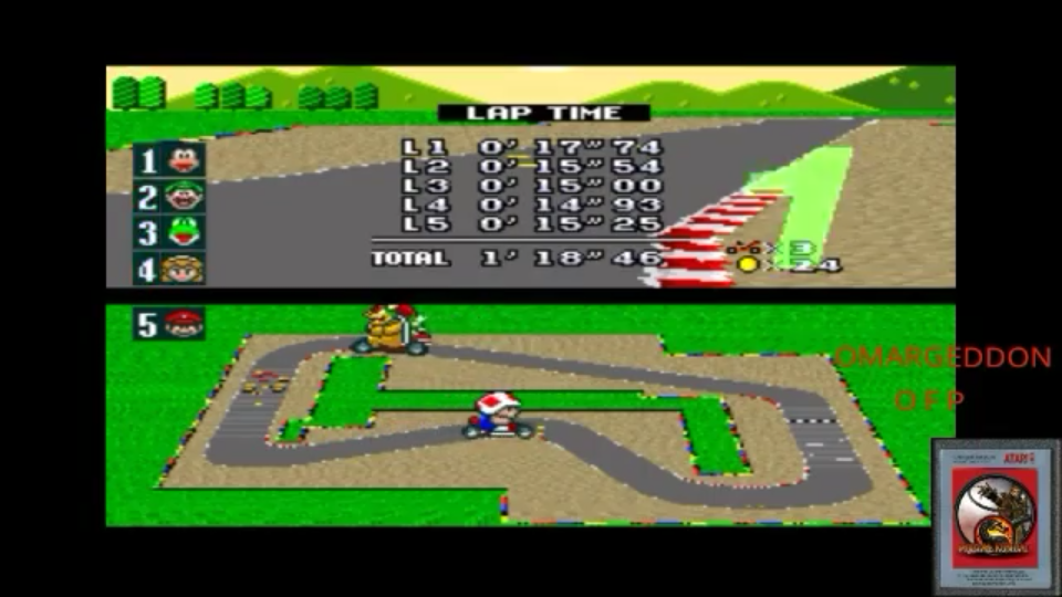 omargeddon: Super Mario Kart [Mushroom Cup: Mario Circuit 1 - 50CC] (SNES/Super Famicom Emulated) 0:01:18.46 points on 2017-09-12 17:00:02