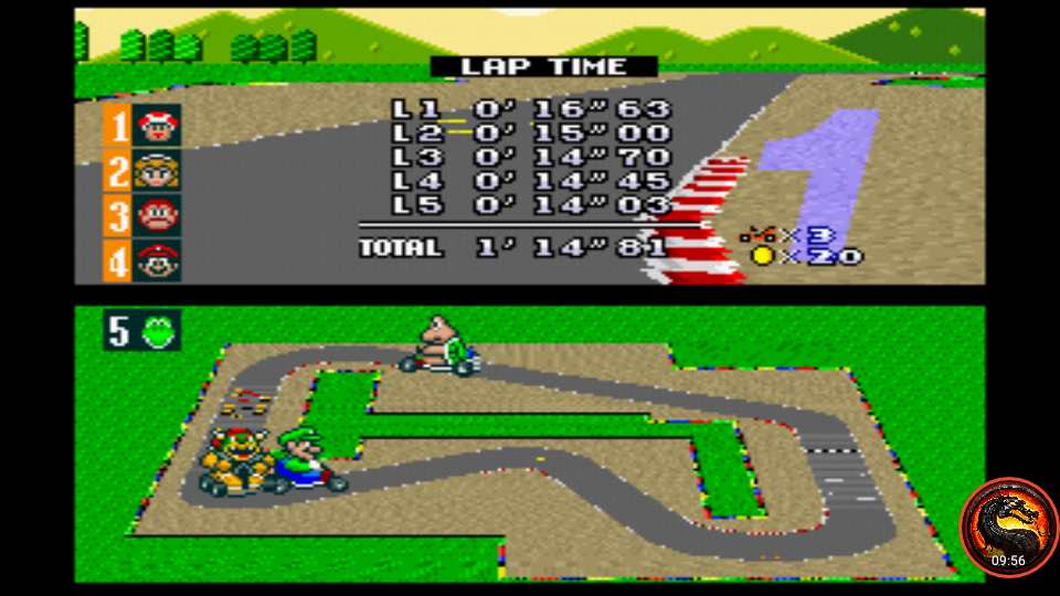 omargeddon: Super Mario Kart [Mushroom Cup: Mario Circuit 1 - 50CC] (SNES/Super Famicom Emulated) 0:01:14.81 points on 2020-02-09 10:10:51