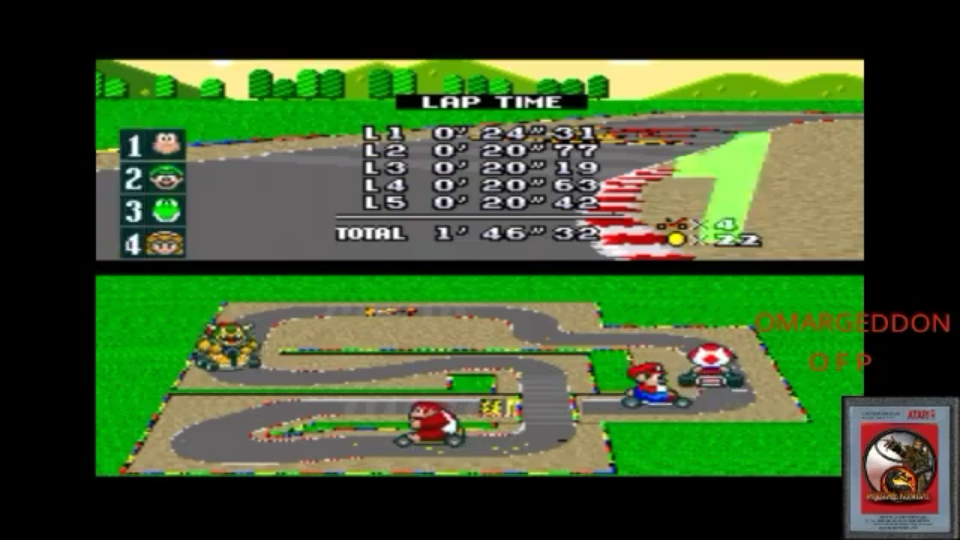 omargeddon: Super Mario Kart [Mushroom Cup: Mario Circuit 2: 50CC] (SNES/Super Famicom Emulated) 0:01:46.32 points on 2017-09-12 18:06:52