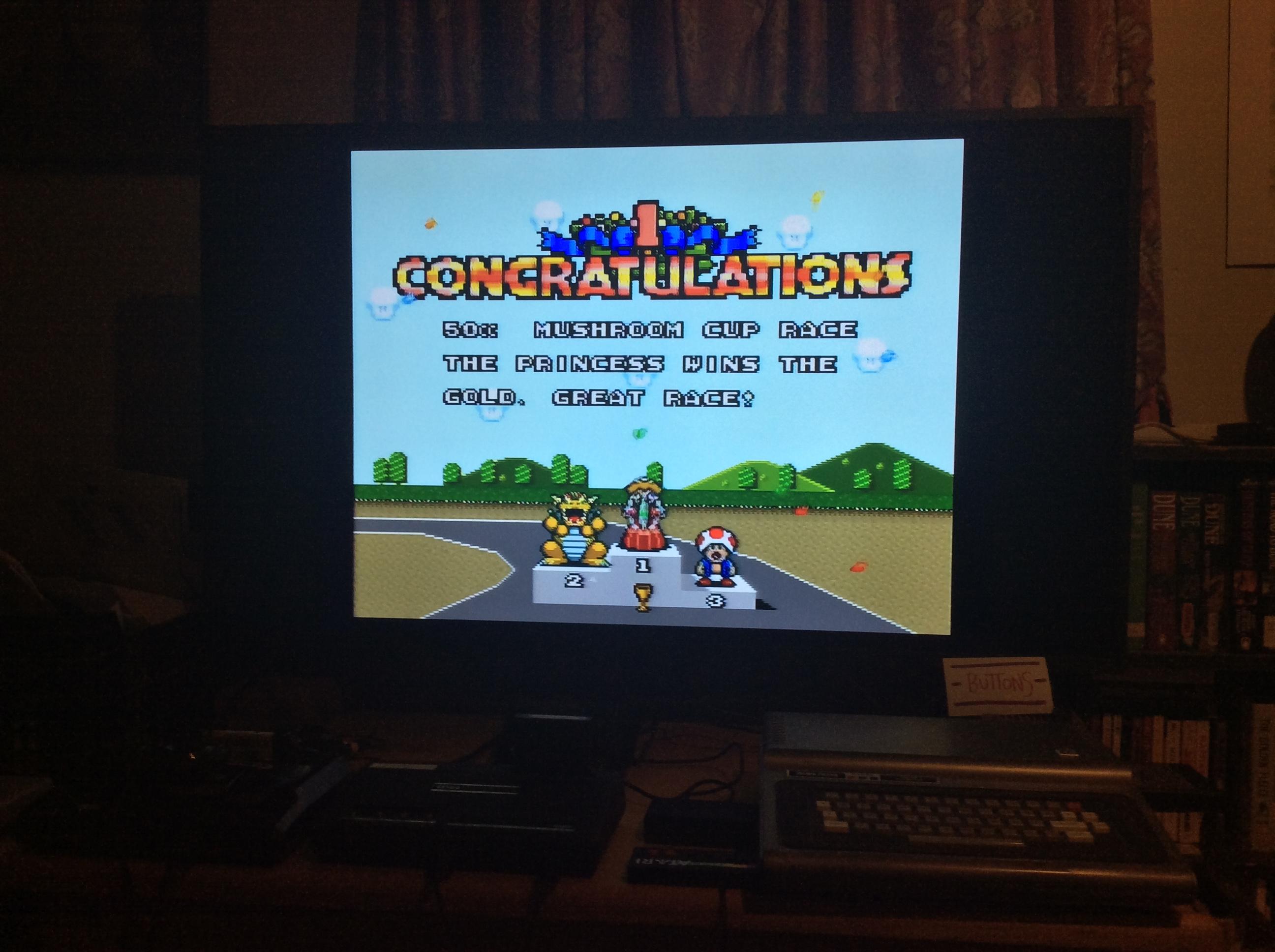 Super Mario Kart [Mushroom Cup: Mario Circuit 2: 50CC] time of 0:01:46.19