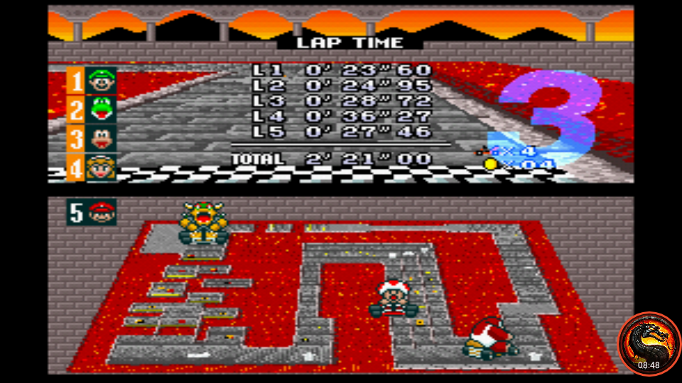 omargeddon: Super Mario Kart [Star Cup: Bowser Castle 3: 50CC] (SNES/Super Famicom Emulated) 0:02:21 points on 2020-02-06 23:57:39
