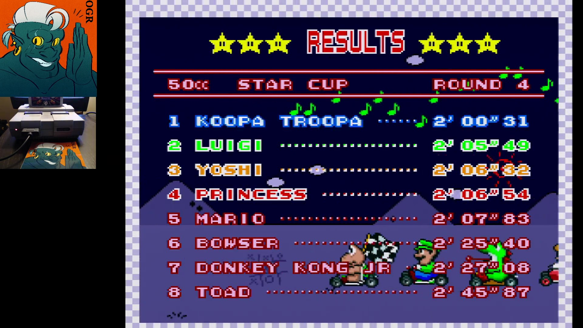 AwesomeOgre: Super Mario Kart [Star Cup: Bowser Castle 3: 50CC] (SNES/Super Famicom) 0:02:00.31 points on 2020-02-16 06:45:51