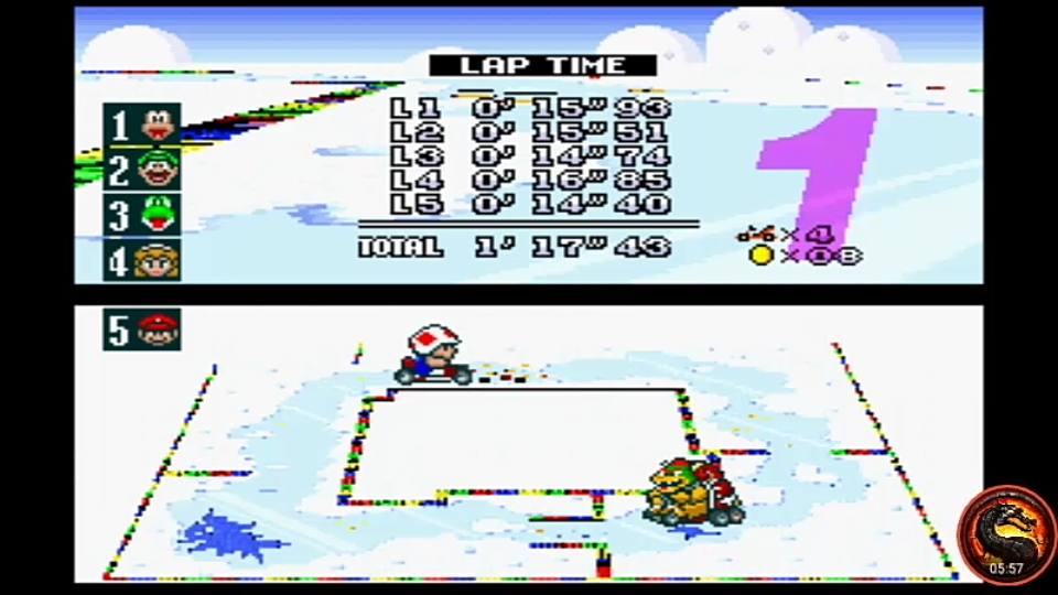 omargeddon: Super Mario Kart [Star Cup: Vanilla Lake 1: 50CC] (SNES/Super Famicom Emulated) 0:01:17.43 points on 2020-02-06 23:55:29