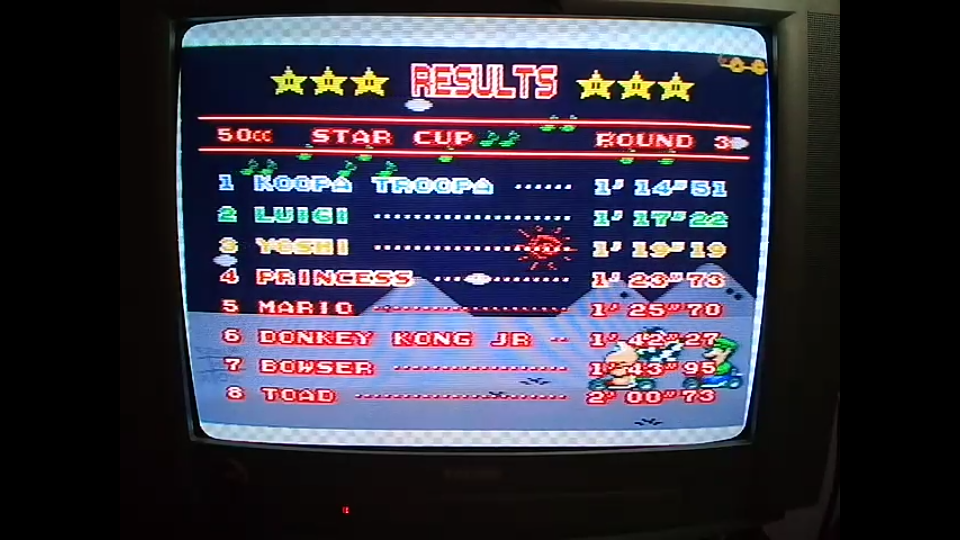 omargeddon: Super Mario Kart [Star Cup: Vanilla Lake 1: 50CC] (SNES/Super Famicom) 0:01:14.51 points on 2020-04-27 01:04:40