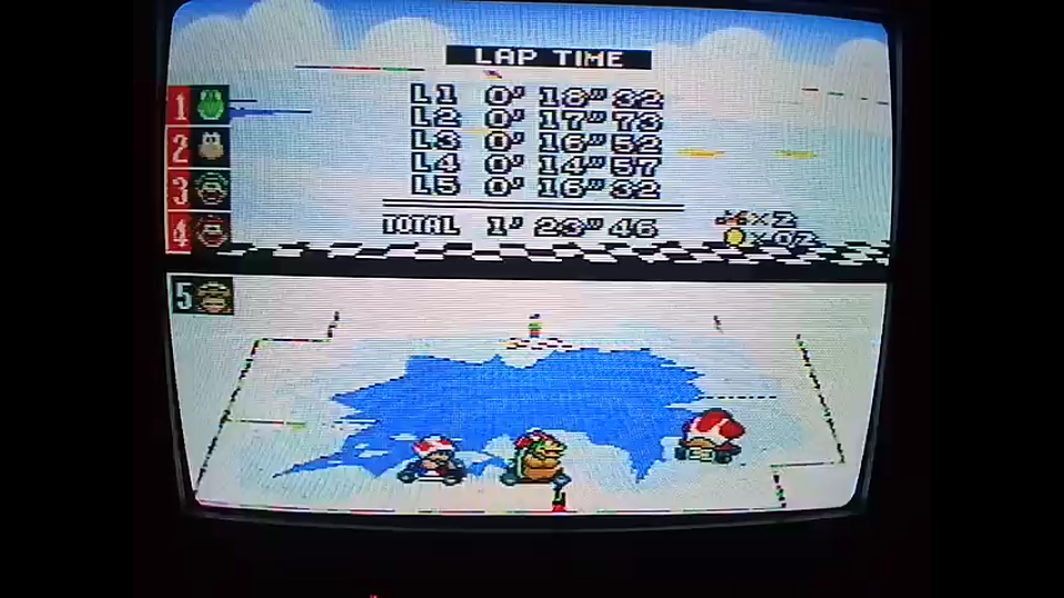 omargeddon: Super Mario Kart: Vanilla Lake 2 [100cc] [Lap Time] (SNES/Super Famicom) 0:00:14.57 points on 2020-04-27 17:52:23