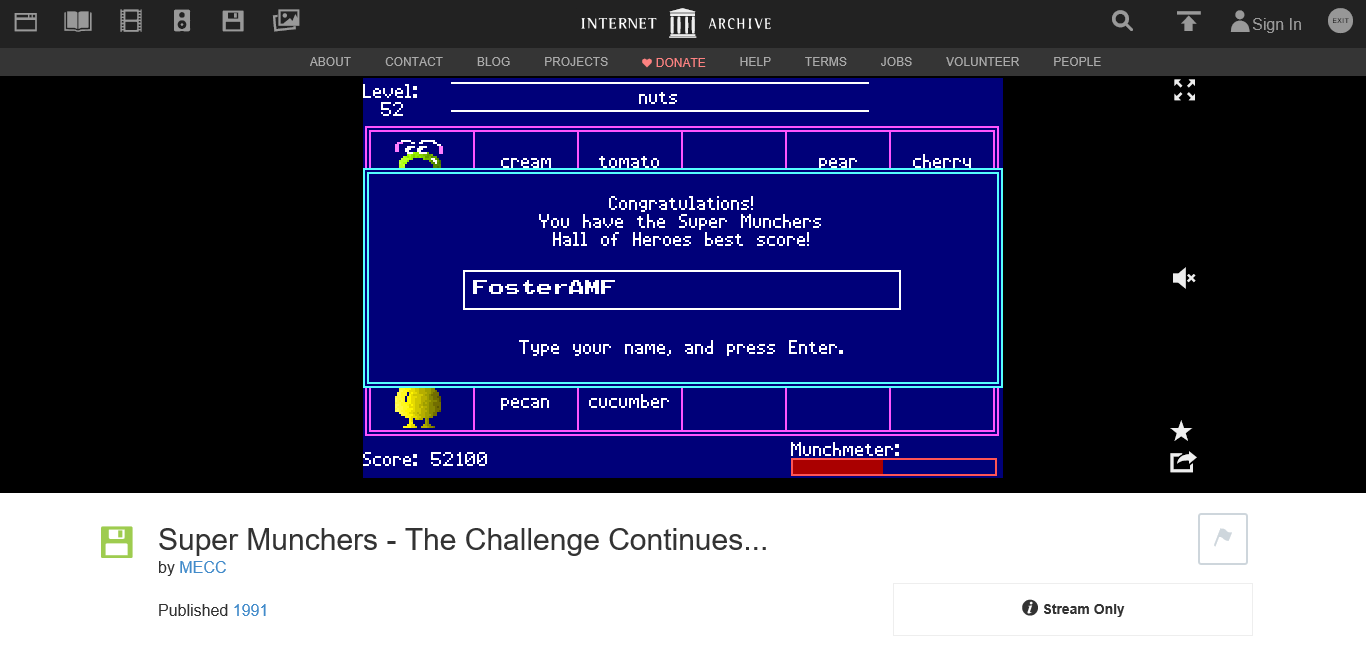 FosterAMF: Super Munchers: Food and Health [Grades 3-4: Advanced] (PC Emulated / DOSBox) 52,100 points on 2016-01-31 19:08:02