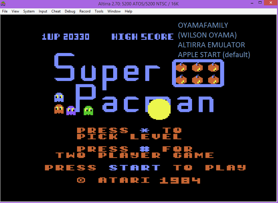 oyamafamily: Super Pac-Man (Atari 5200 Emulated) 20,330 points on 2016-06-25 19:56:16