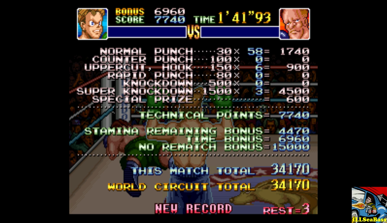 ILLSeaBass: Super Punch-Out!! [Aran Ryan] (SNES/Super Famicom Emulated) 34,170 points on 2016-12-15 09:01:13