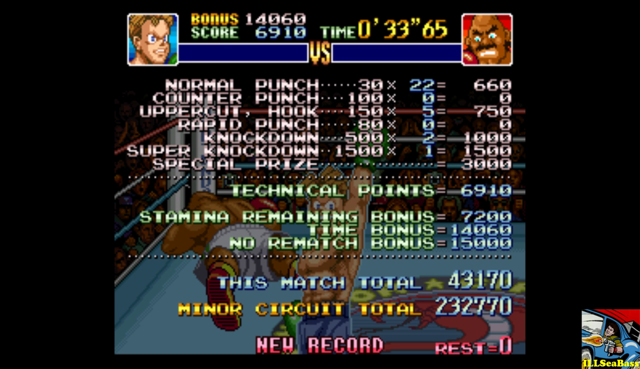 ILLSeaBass: Super Punch-Out!! [Bald Bull] (SNES/Super Famicom Emulated) 43,170 points on 2016-12-18 23:36:44
