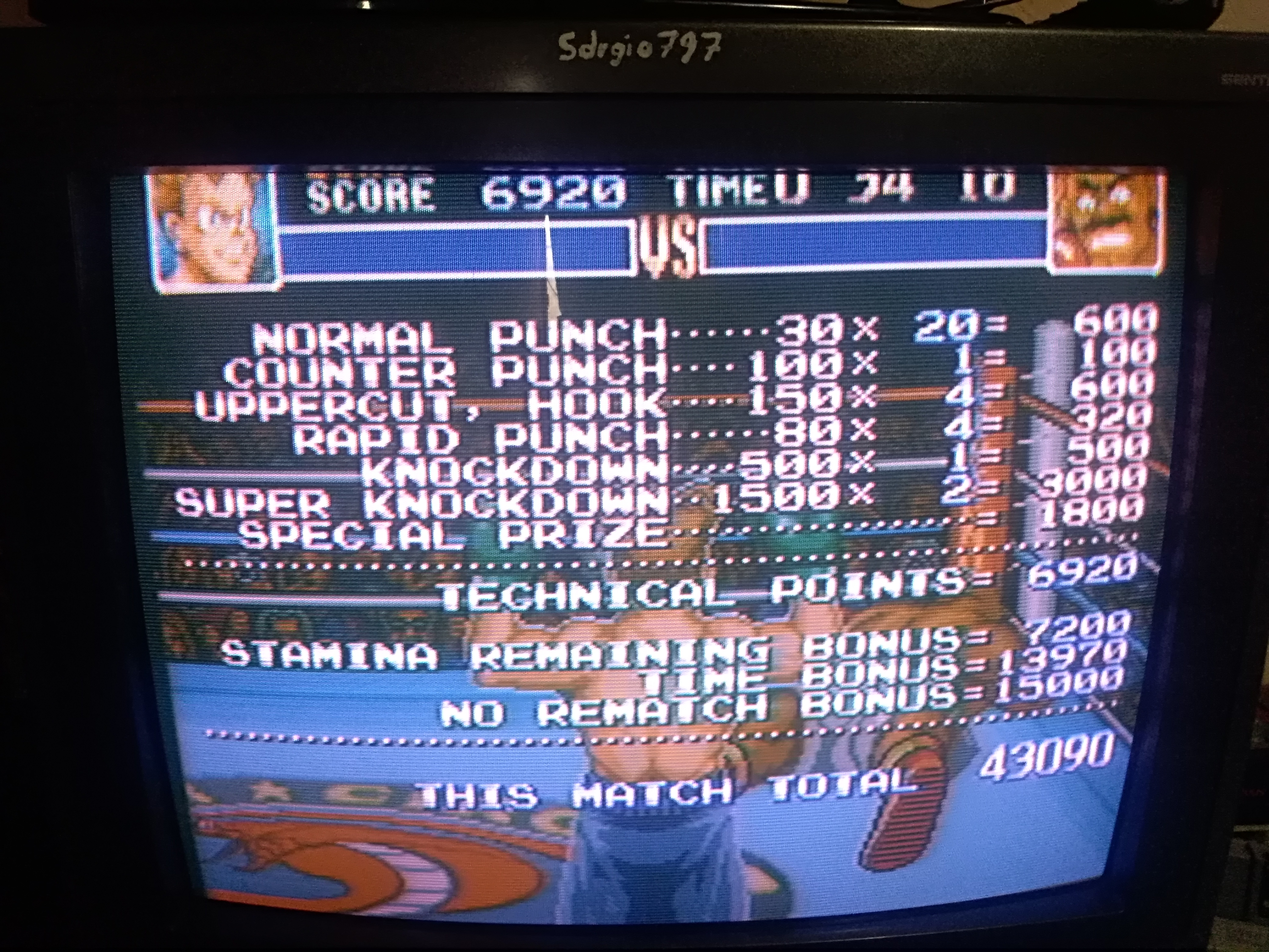 Super Punch-Out!! [Bald Bull] 43,090 points