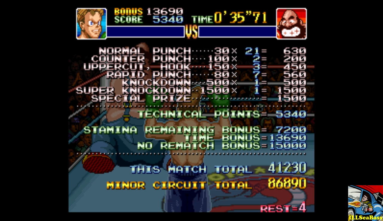 Super Punch-Out!! [Bear Hugger] 41,230 points