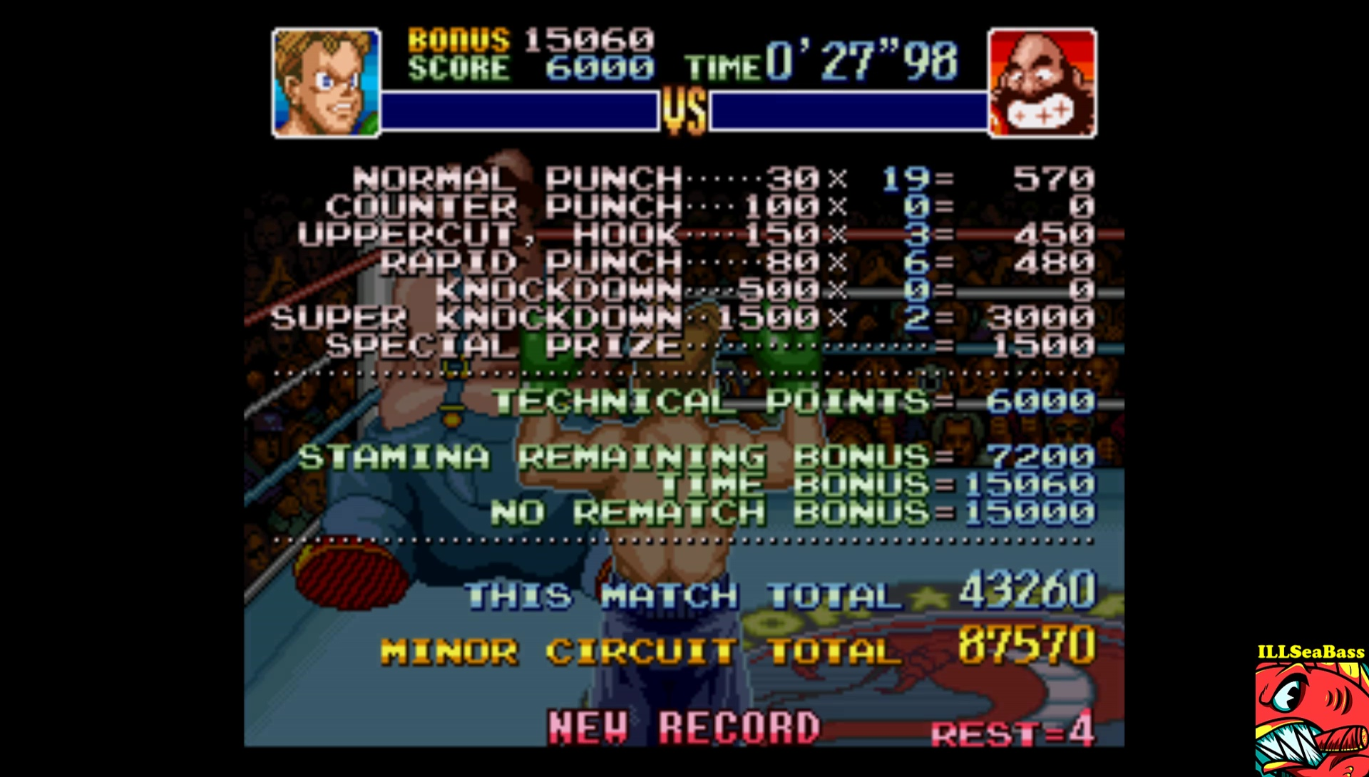 ILLSeaBass: Super Punch-Out!! [Bear Hugger] (SNES/Super Famicom Emulated) 43,260 points on 2017-09-08 19:15:40