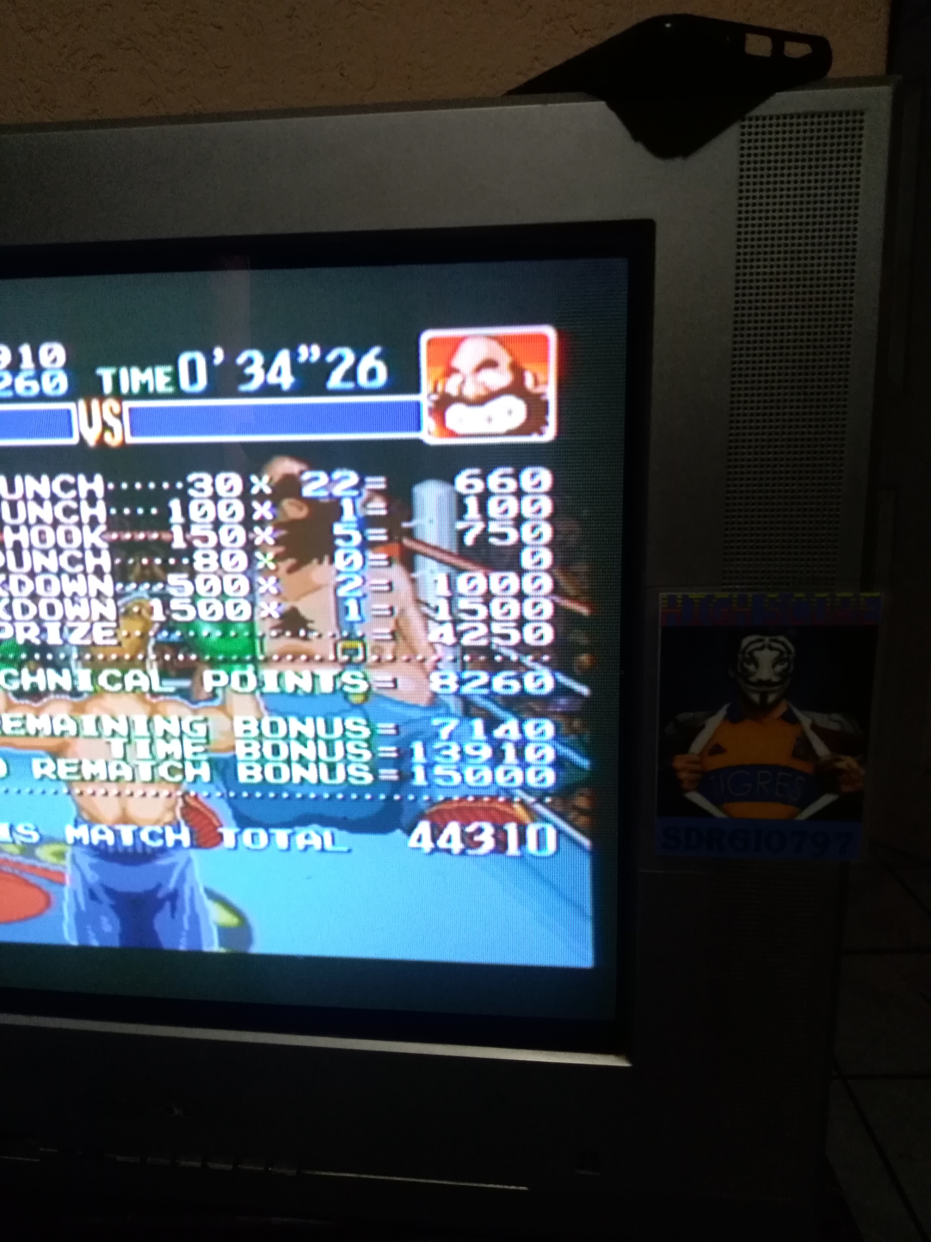 Sdrgio797: Super Punch-Out!! [Bear Hugger] (SNES/Super Famicom Emulated) 44,310 points on 2020-07-26 20:21:53