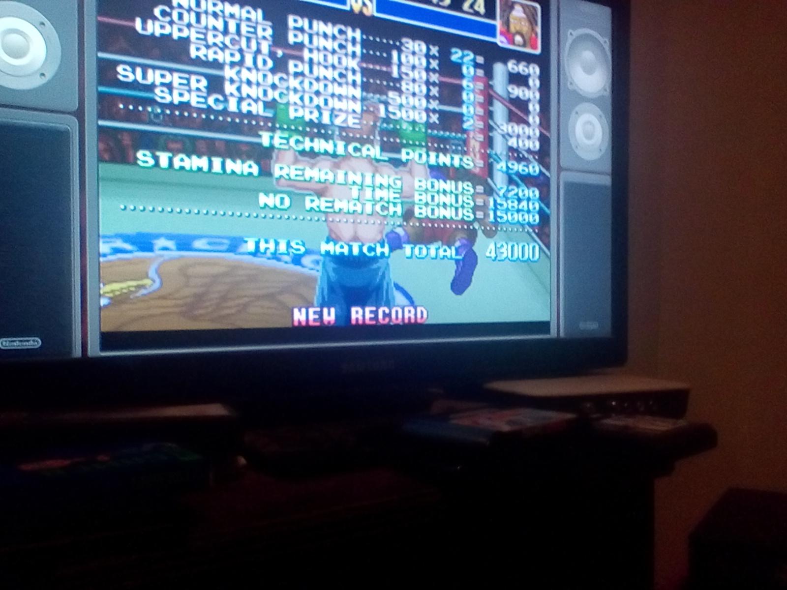 DrJoshDaReagamer22G: Super Punch-Out!! [Bob Charlie] (SNES/Super Famicom Emulated) 43,000 points on 2019-02-18 05:46:03