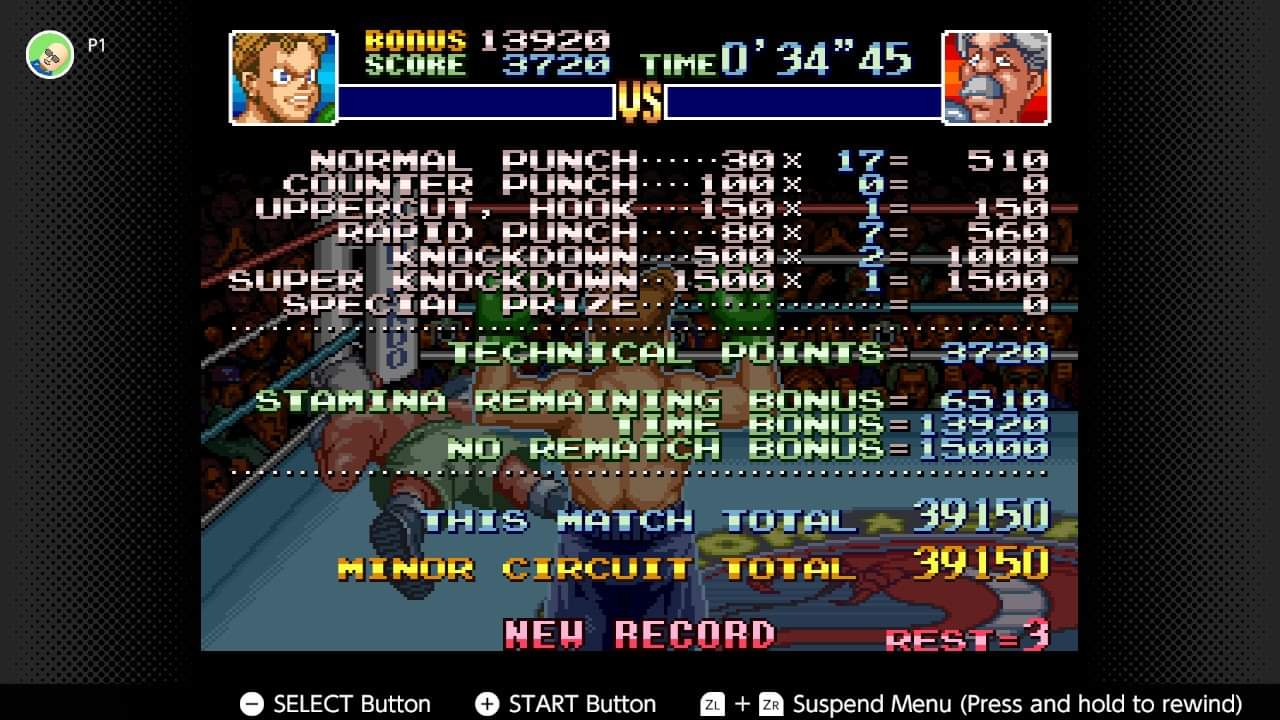 JML101582: Super Punch-Out!! [Gabby Jay] (SNES/Super Famicom Emulated) 39,150 points on 2020-12-25 23:11:06