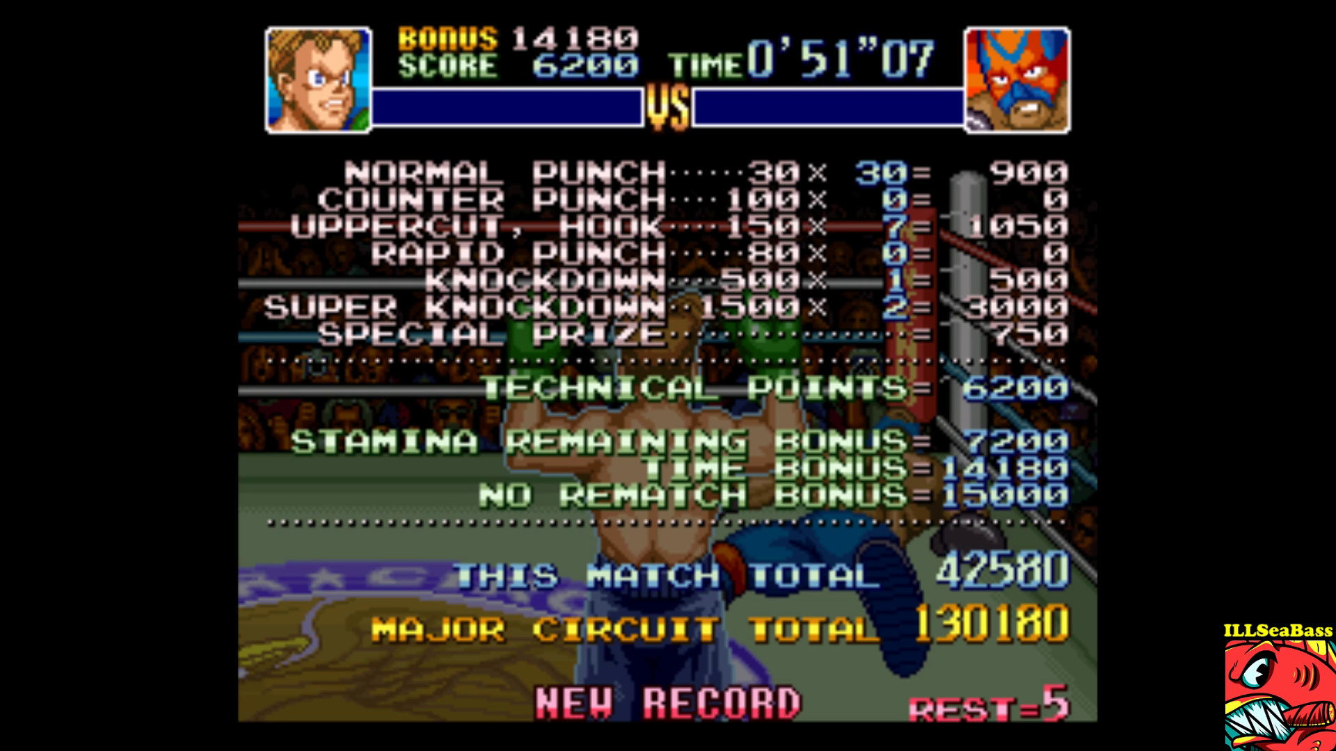 ILLSeaBass: Super Punch-Out!! [Masked Muscle] (SNES/Super Famicom Emulated) 42,580 points on 2017-09-15 20:39:06