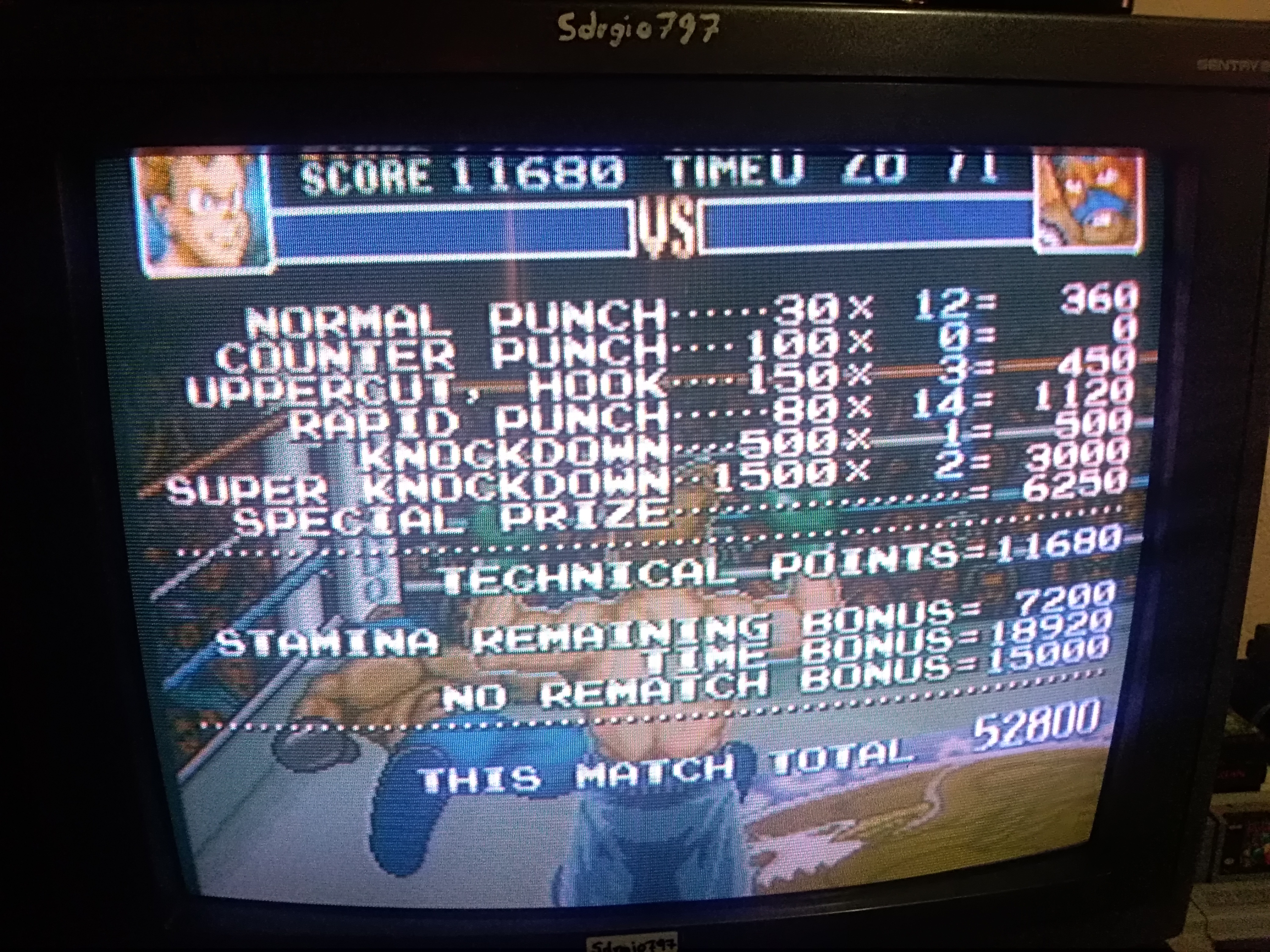 Super Punch-Out!! [Masked Muscle] 52,800 points