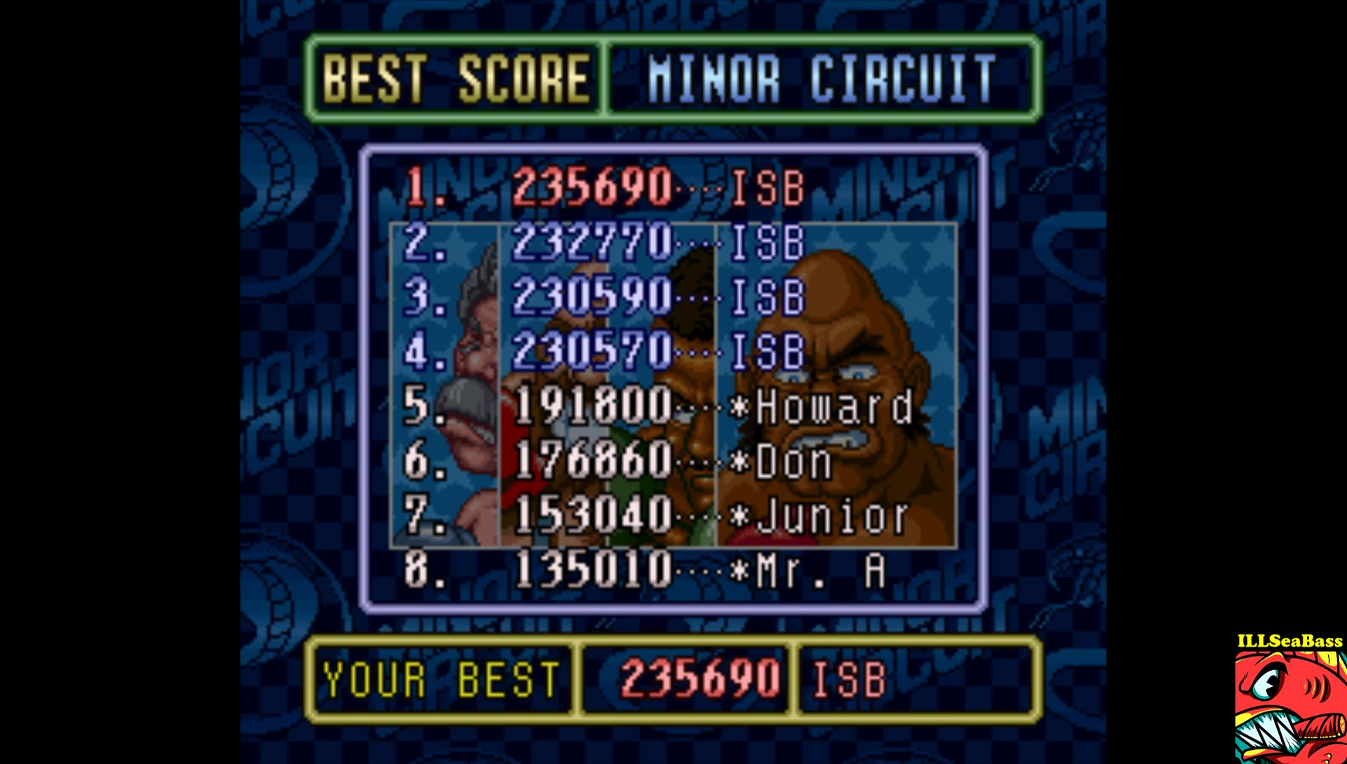 ILLSeaBass: Super Punch-Out!! [Minor Circuit] (SNES/Super Famicom Emulated) 235,690 points on 2017-09-08 19:09:32