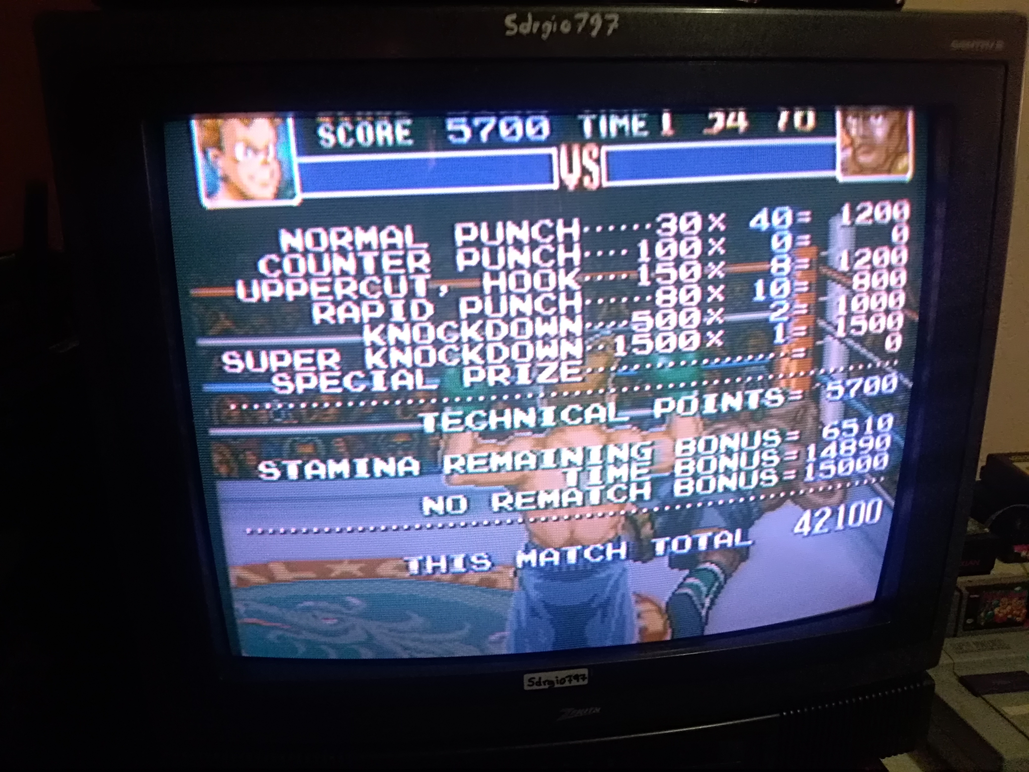 Sdrgio797: Super Punch-Out!! [Nick Bruiser] (SNES/Super Famicom) 42,100 points on 2020-07-06 15:55:59