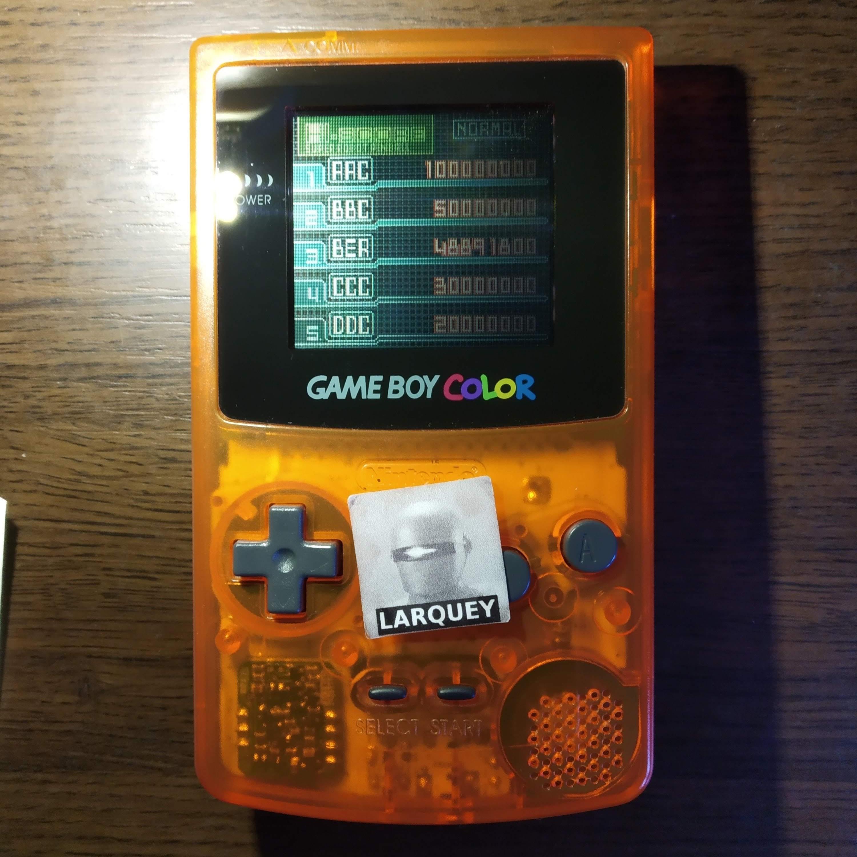 Larquey: Super Robot Pinball (Game Boy Color) 48,891,800 points on 2020-07-24 04:57:29