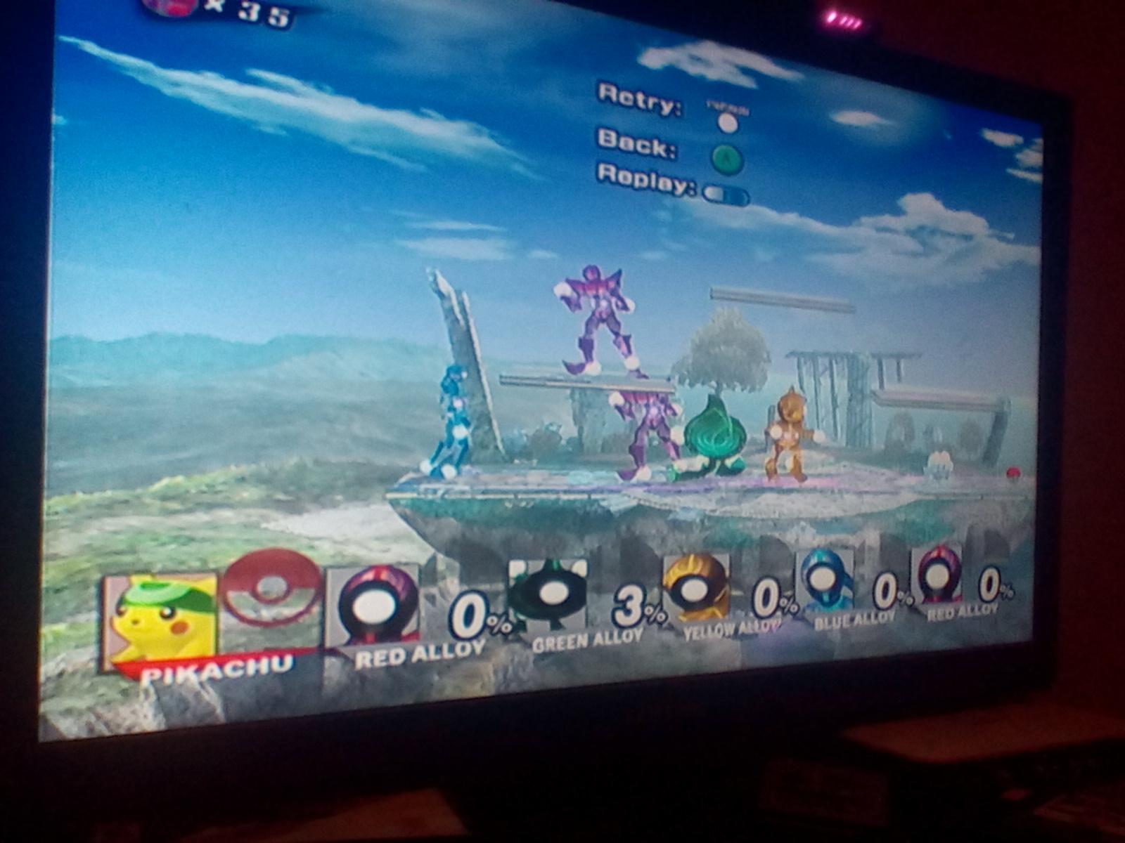 Super Smash Bros. Brawl: Endless Brawl: Pikachu 35 points