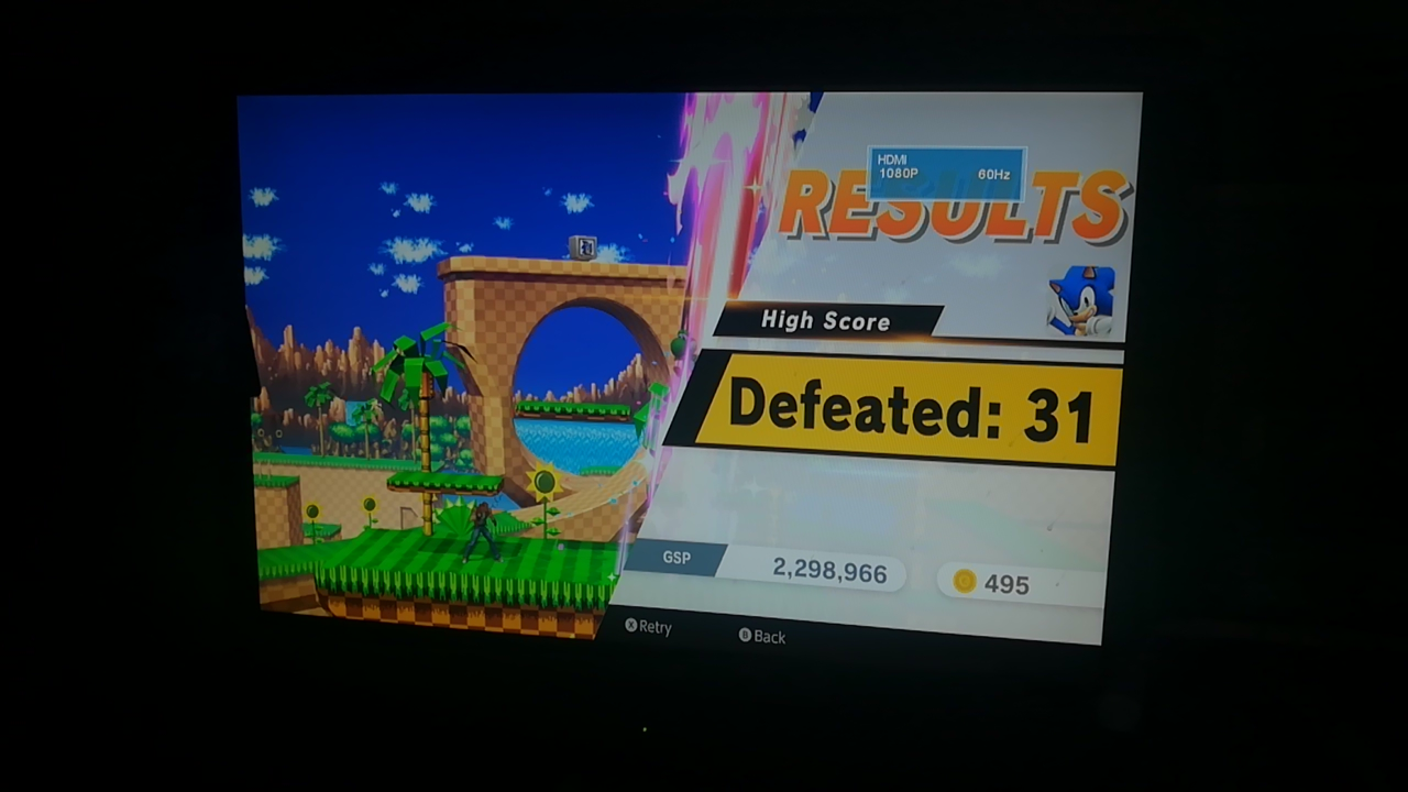 Mimitchi: Super Smash Bros. Ultimate: All-Star Smash: Sonic (Nintendo Switch) 31 points on 2020-05-31 13:12:03