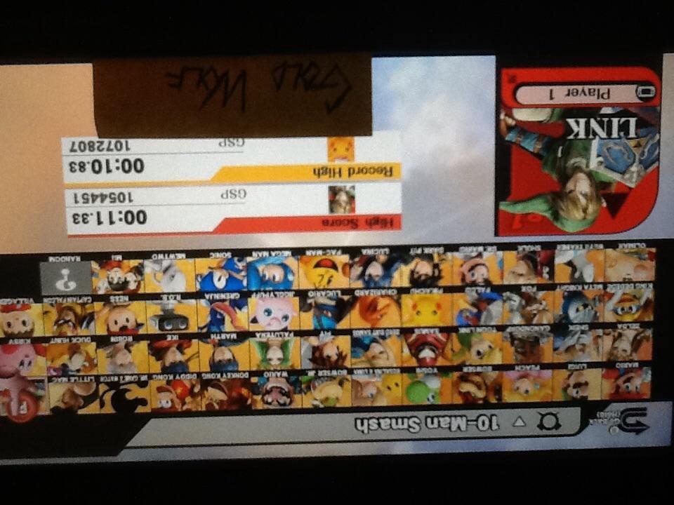 Super Smash Bros. for Wii U: 10-Man Smash: Link time of 0:00:11.33